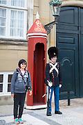 Royal Guard, Den Kongelige Livgarde, in uniform at sentry box, Royal Amalienborg Palace, Copenhagen, Denmark