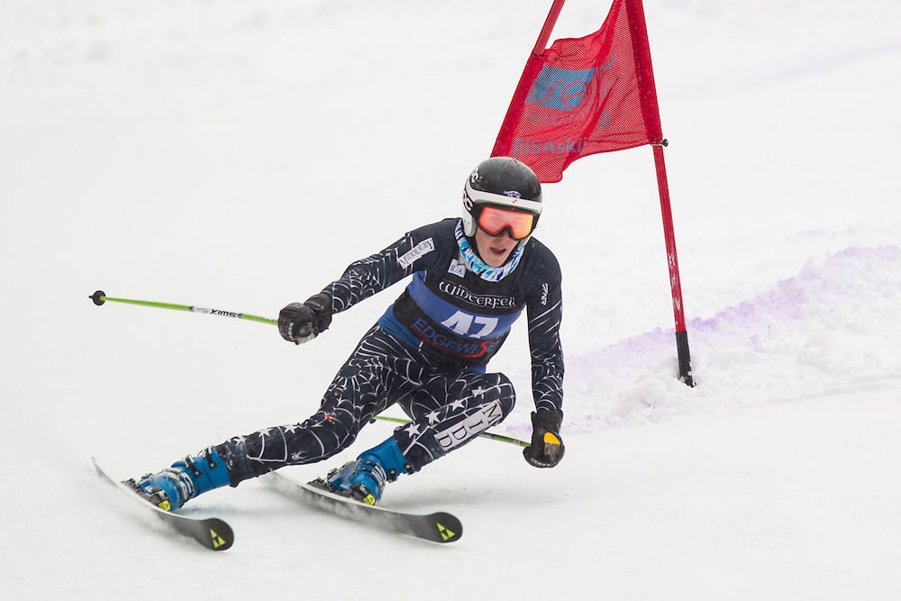 Nicole Roos of Middlebury College, skis during the second run of the women's giant slalom at Jiminy Peak on February 15, 2014 in Hancock, MA. (Dustin Satloff/EISA)