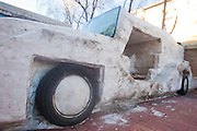 CHANGCHUN, CHINA - JANUARY 06: (CHINA OUT) <br /> <br /> Snow Car in China<br /> <br /> A snow sculpture of a car is seen on January 6, 2015 in Changchun, Jilin province of China. Li Fengjiang, a 56-year-old driver built a snow sculpture of a car in Changchun.<br /> ©Exclusivepix Media