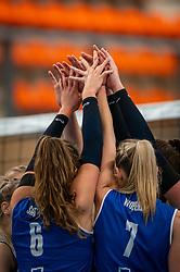 Sliedrecht hands celebrate during the first league match in the corona lockdown between Talentteam Papendal vs. Sliedrecht Sport on January 09, 2021 in Ede.
