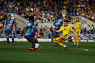 Luke Garbutt of Oxford United shot is blocked during the EFL Sky Bet League 1 match between Oxford United and Wycombe Wanderers at the Kassam Stadium, Oxford, England on 30 March 2019.