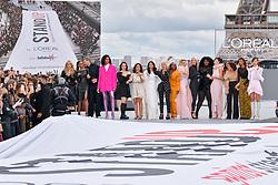 Katherine Langford, Camila Cabello, Aishwarya Rai, Helen Mirren, Aja Naomi King, Amber Heard, Soo Joo Park, Yseult, Nidhi Sunil, Leïla Bekhti, Liya Kebede, Cindy Bruna, Luma Grothe walk the runway of L'Oréal show during the Paris Fashion Week Spring Summer on October 3, 2021 in Paris, France. Photo by Jana Call me J/ABACAPRESS.COM
