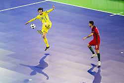 Oleksandr Pediash of Ukraine and Marcio Moreira of Portugal during futsal match between National teams of Ukraine and Portugal at Day 6 of UEFA Futsal EURO 2018, on February 4, 2018 in Arena Stozice, Ljubljana, Slovenia. Photo by Urban Urbanc / Sportida