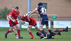Ryan Edwards of Bristol Rugby is tackled - Mandatory by-line: Robbie Stephenson/JMP - 13/01/2018 - RUGBY - Castle Park - Doncaster, England - Doncaster Knights v Bristol Rugby - B&I Cup