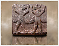 """Picture of Neo-Hittite orthostat describing the legend of Gilgamesh from Karkamis,, Turkey. Museum of Anatolian Civilisations, Ankara. Symetrical mythological Scene depicting """"Winged Griffin Demons"""", half men with birds heads & wings. Their hands are raised above their heads supposidly carrying the sky. 5"""
