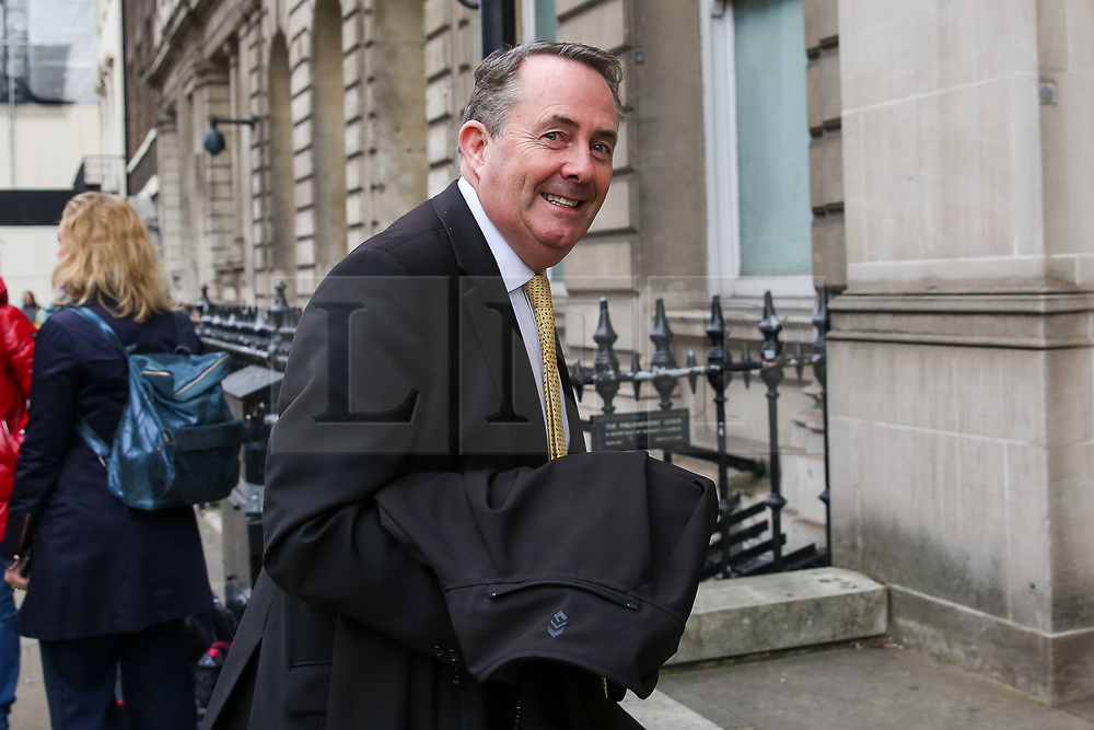 """© Licensed to London News Pictures. 23/10/2019. London, UK. Former Secretary of State for International Trade DR LIAM FOX is seen in Westminster. On Tuesday 22 October 2019, MPs rejected Prime Minister BORIS JOHNSON'S fast-track timetable for ratifying the Brexit deal and the government """"paused"""" the parliamentary process — almost certainly ending any prospect of Brexit on 31 October.  Photo credit: Dinendra Haria/LNP"""