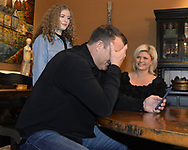 CHICAGO - JANUARY 24:  Former Major League player Jim Thome reacts after receiving a phone call from the National Baseball Hall of Fame in Cooperstown, New York, informing him that he has been elected to the Hall of Fame. Jim accepted the call while surrounded by his family, wife Andrea and children Lila Grace and Landon. (Photo by Ron Vesely)  Subject: Jim Thome