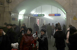 April 3, 2017 - Saint Petersburg, Russia - Commuters leave the smoke filled Sennaya subway station. A suspected bomb detonated on a metro train in St Petersburg on Monday, killing at least 10 people. The blast occurred at the Sennaya Ploshchad station, in the centre of Russia's second city, at about 2.30pm, reportedly as the train was pulling out of the station. (Credit Image: © Russian Look via ZUMA Wire)