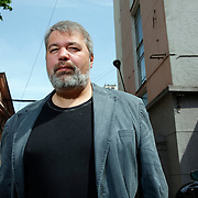 Chief editor Dmitry Muratov in front of the office of  Novaya Gazeta newspaper in Moscow. Novaya Gazeta is one of the few remaining independent media outlets in Russia that dare to challenge the Kremlin, but it has paid a heavy price for its courage. Anna Politkovskaya, the newspaper's most prominent journalist, was gunned down in her apartment block in Moscow in 2006.   ..Picture by Justin Jin.