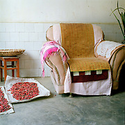 Red chillies drying on the floor alongside an armchair in a restaurant in the Yi ethnic minority village of Huang Mao Ling village, Yunnan Province, China