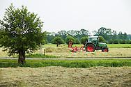 Nederland, Driebergen, 2 juni 2014<br /> Hooien. Boer heeft gras gemaaid en laat dit in de zon drogen. Dat moet af en toe gekeerd worden, hetgeen hij nu doet. <br /> Foto (c) Michiel Wijnbergh