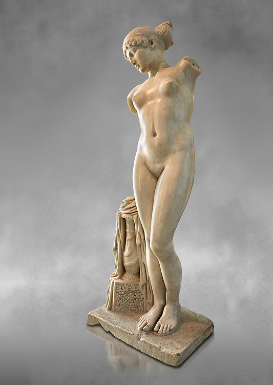 """Roman marble statue of the Esquiline Venus or Aphrodite dated to the 1st cent. It was found in 1874 in Piazza Dante on the Esquiline Hill in Rome, probably part of the site of the Horti Lamiani, one of the imperial gardens, rich archaeological sources of classical sculpture. The Esquiline Venus is an example of the Pasitelean """"eclectic"""" style of the Neo-Attic school. It combines elements from a variety of other previous schools - a Praxitelean idea of the nude female form; a face, muscular torso, and small high breasts in the fifth-century BC severe style; and pressed-together thighs typical of Hellenistic sculptures. Capitoline Museums, Rome ..<br /> <br /> If you prefer to buy from our ALAMY STOCK LIBRARY page at https://www.alamy.com/portfolio/paul-williams-funkystock/greco-roman-sculptures.html . Type -    Capitoline    - into LOWER SEARCH WITHIN GALLERY box - Refine search by adding a subject, place, background colour, etc.<br /> <br /> Visit our ROMAN WORLD PHOTO COLLECTIONS for more photos to download or buy as wall art prints https://funkystock.photoshelter.com/gallery-collection/The-Romans-Art-Artefacts-Antiquities-Historic-Sites-Pictures-Images/C0000r2uLJJo9_s0"""