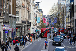 © Licensed to London News Pictures. 12/04/2021. London, UK. A busy Oxford Street as shoppers return to central London. Pubs, restaurants and non-essential shops reopened on Monday 12 April 2021 as England begins the second phase of 'unlocking' after months of lockdown. Photo credit: Rob Pinney/LNP