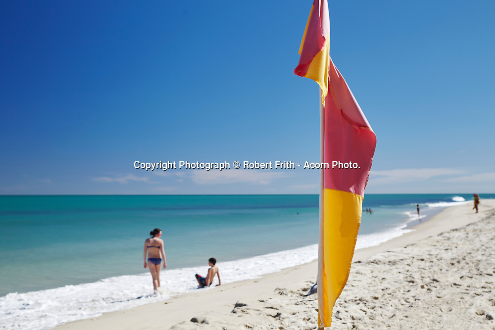 Surf lifesaving flag at Cottesloe Main Beach