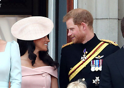 The Duke and Duchess of Sussex on the balcony of Buckingham Palace, in central London, following the Trooping the Colour ceremony at Horse Guards Parade as the Queen celebrates her official birthday.