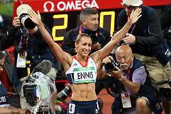 Jessica Ennis of Great Britain celebrates winning gold during the 800m meters.  The final event of the Women's Heptahlon held at the Olympic Stadium in Olympic Park in London as part of the London 2012 Olympics on the 4th August 2012..Photo by Ron Gaunt/SPORTZPICS