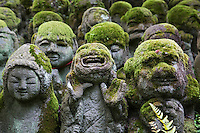 Otagi Nenbutsu-ji is a Buddhist temple in Arashiyama near Kyoto that features over 1200 stone Rakan or disciples of Buddhism that were carved from across Japan under the guidance of sculptor Kocho Nishimura. Each sculpture is a display of expressive faces and gestures that still manage to translate through the moss that covers them.