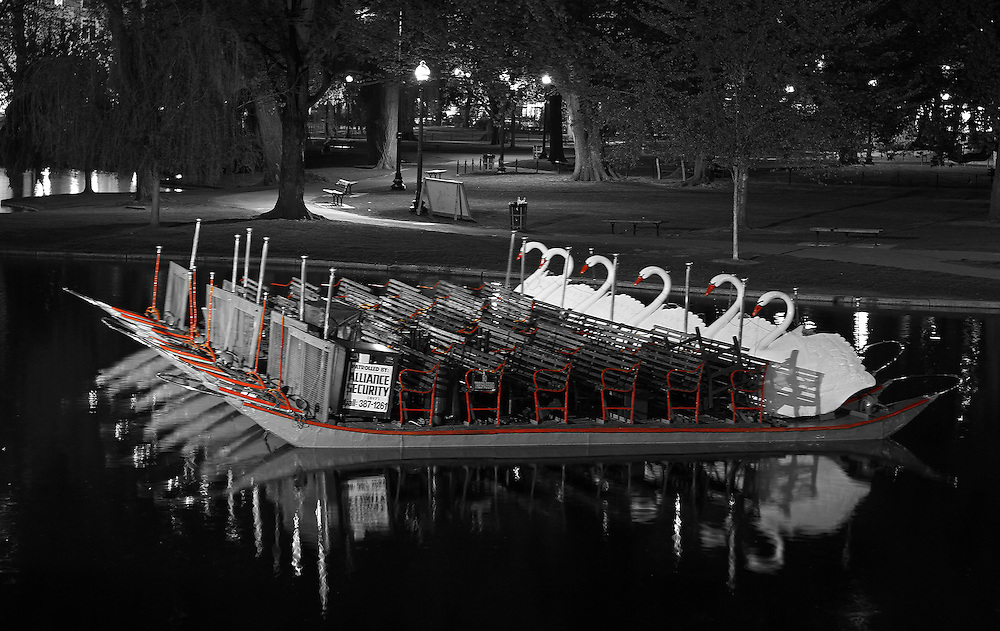 This selective color B&W New England photography image of an iconic Boston Swan Boat after sunset is available as museum quality photography prints, canvas prints, acrylic prints or metal prints. Prints may be framed and matted to the individual liking and decorating needs: <br /> <br /> http://juergen-roth.pixels.com/featured/historic-boston-public-garden-swan-boat-juergen-roth.html<br /> <br /> Selective color black and white photography of one of the historic Boston Swan boats was photographed in the beautiful after sunset hours. The historical landmark is known throughout New England and the world. Every spring New Englanders and travelers alike look forward to the opening swan boat season in the Public Garden lagoon.<br /> <br /> Good light and happy photo making! <br /> <br /> My best, <br /> <br /> Juergen<br /> Website: www.RothGalleries.com<br /> Twitter: @NatureFineArt<br /> Facebook: https://www.facebook.com/naturefineart<br /> Instagram: https://www.instagram.com/rothgalleries