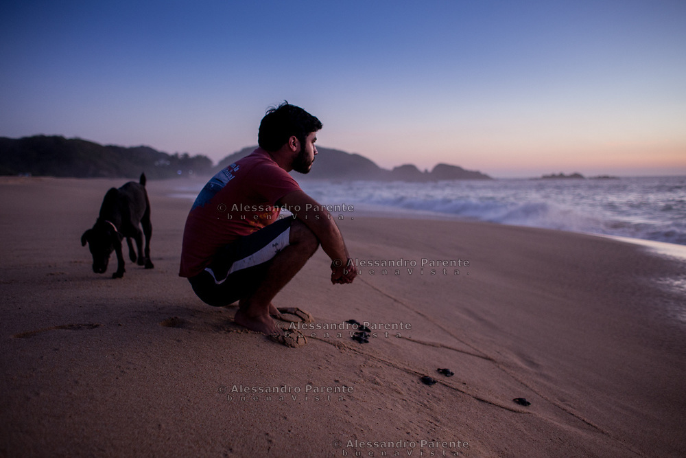 The volunteer is waiting for the last turtles going to the sea.