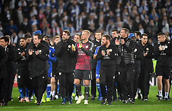 Leicester City goalkeeper Kasper Schmeichel (centre) applauds the fans after the final whistle of the Premier League match at the King Power Stadium, Leicester.