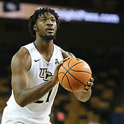 ORLANDO, FL - NOVEMBER 15: Chad Brown #21 of the UCF Knights attempts a free throw during a NCAA basketball game against the Gardner-Webb Runnin Bulldogs at the CFE Arena on November 15, 2017 in Orlando, Florida. (Photo by Alex Menendez/Getty Images) *** Local Caption *** Chad Brown