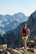Kelly Halpin trail running in the tetons, Wy.