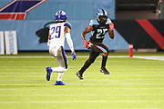Dallas Renegades running back Lance Dunbar (25) heads for the sidelines while being pursued by St. Louis Battlehawks cornerback David Rivers (29) during a XFL professional football game, Saturday, February 9, 2020, at Globe Life Park, Arlington Texas. he  Battlehawks defeated the Renegades 15-9. (Wayne Gooden/Image of Sport)
