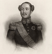 Ferdinand Philippe, Duc d'Orleans (1810-1842) eldest son of French king Louis-Philippe. Heir to the throne of France, he served as general in French army. Killed in a carriage accident.   Engraving