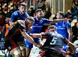 Jamison Gibson-Park of Leinster thinks his size have scored. But ruled out by the TMO<br /> <br /> Photographer Simon King/Replay Images<br /> <br /> Guinness PRO14 Round 10 - Dragons v Leinster - Saturday 1st December 2018 - Rodney Parade - Newport<br /> <br /> World Copyright © Replay Images . All rights reserved. info@replayimages.co.uk - http://replayimages.co.uk