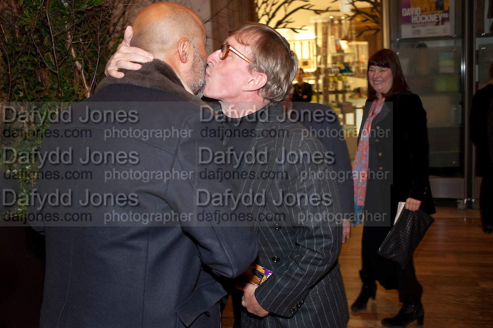 RICHARD YOUNG; JASPER CONRAN, Opening of David Hockney ' A Bigger Picture' Royal Academy. Piccadilly. London. 17 January 2012