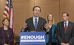 October 3, 2017 - Washington, District of Columbia, United States of America - United States Senator Chris Murphy (Democrat of Connecticut) makes remarks at a press conference to discuss gun violence in wake of Las Vegas shooting in the US Capitol in Washington, DC on Tuesday, October 3, 2017.  Murphy renewed his call for new laws to close the ''Gun Show Loophole'' that allows people to purchase guns if their background checks are incomplete.  Pictured from left to right: US Senator Amy Klobuchar (Democrat of Minnesota); Sen. Murphy; Avery W. Gardiner, Co-President, the Brady Campaign to Prevent Gun Violence; and US Senator Richard Blumenthal (Democrat of Connecticut). .Credit: Ron Sachs / CNP (Credit Image: © Ron Sachs/CNP via ZUMA Wire)