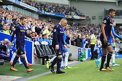 15 October 2017 -  Premier League - Brighton and Hove Albion v Everton - Gylfi Sigurdsson, Wayne Rooney and Dominic Calvert-Lewin of Everton walk out before the match - Photo: Marc Atkins/Offside