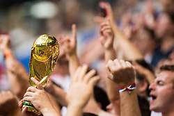 July 7, 2018 - Samara, Russia - 180707 A copy of the World Cup Trophy is seen during the FIFA World Cup quarter final match between Sweden and England on July 7, 2018 in Samara..Photo: Petter Arvidson / BILDBYRÃ…N / kod PA / 92083 (Credit Image: © Petter Arvidson/Bildbyran via ZUMA Press)