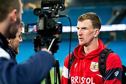 Aden Flint of Bristol City is interviewed after the match by BCTV - Rogan/JMP - 09/01/2018 - Etihad Stadium - Manchester, England - Manchester City v Bristol City - Carabao Cup Semi Final First Leg.