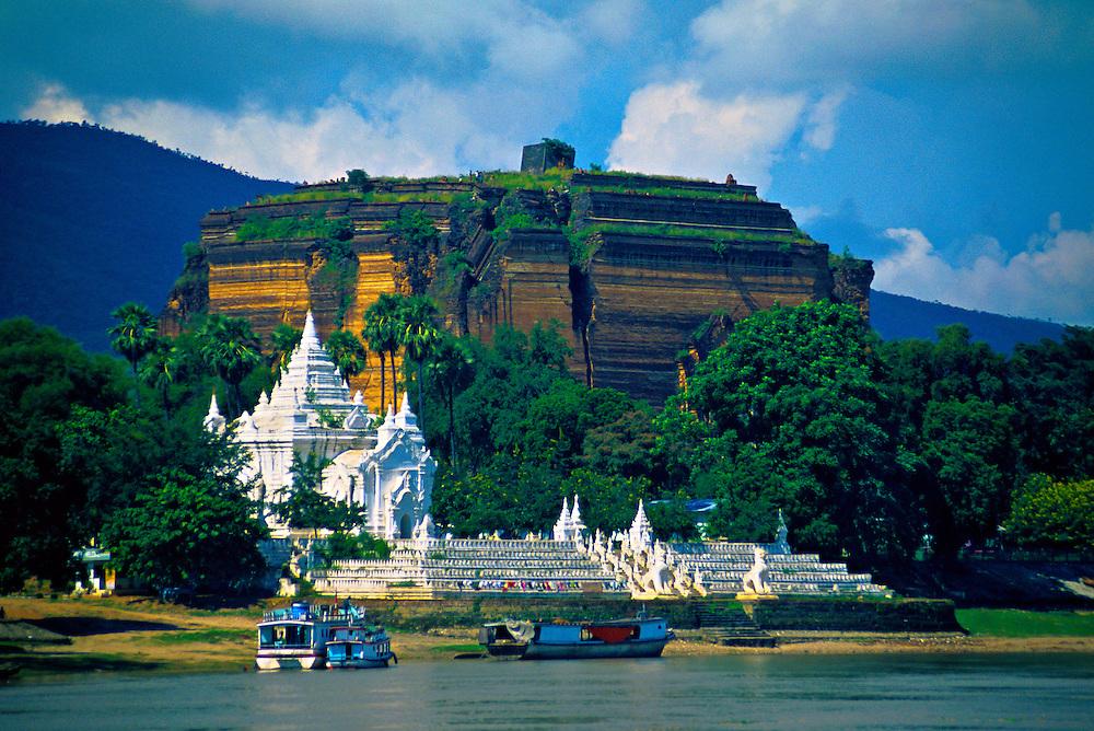 The Mingun Pagoda (in back) on the Ayeyarwady River near Mandalay, Burma (Myanmar)