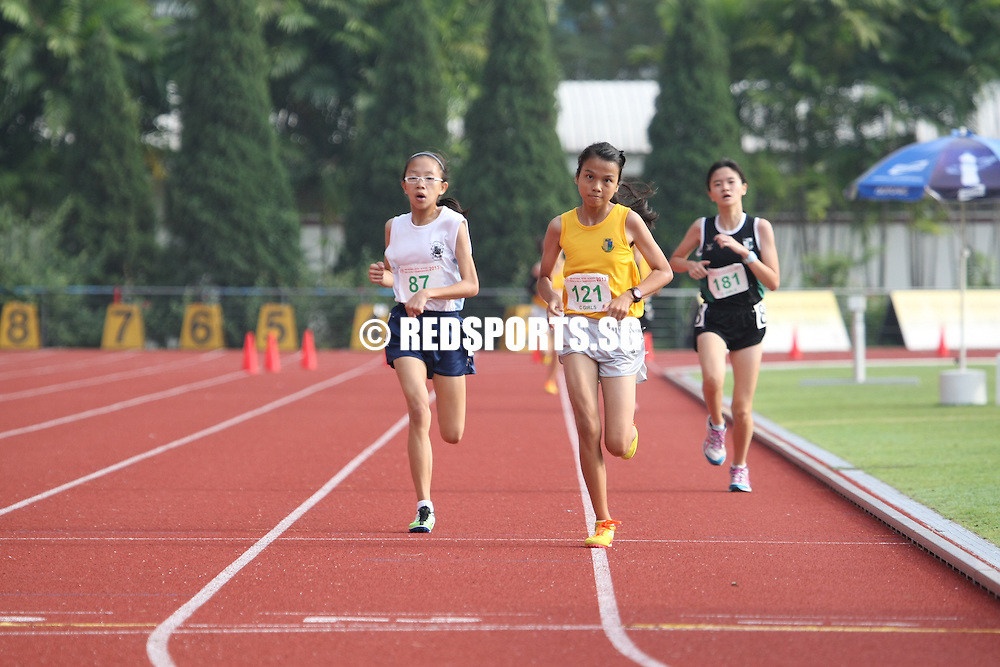 Choa Chu Kang Sports Complex, Monday, April 15, 2013 — In the 3,000 metres C Division final of the 54th National Inter-School Track and Field Championships 2013, a strong final 500m dash was what set Alicia Tung Rui Ling of Crescent Girls' School apart from the rest. Covering the 3,000m in 12:08.17, Alicia bagged a gold to go with the silver medal from the 1,500m event where she clocked 5:28.58.<br /> <br /> Story: http://www.redsports.sg/2013/04/17/c-div-3000m-alicia-tung-crescent-girls/