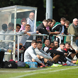 """TELFORD COPYRIGHT MIKE SHERIDAN Telford substitutes watch on with fans during the pre-season friendly between Ellesmere Rangers and AFC Telford United at Beech Grove, Ellesmere on Saturday, September 5, 2020.<br /> <br /> 300 fans were allowed in to watch the game for the first time since the government declared a coronavirus """"lockdown"""" in March.<br /> <br /> Picture credit: Mike Sheridan/Ultrapress<br /> <br /> MS202021-022"""