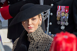 Princess Charlene of Monaco is arriving to the St. Nicholas Cathedral to attend the solemn mass during the National Day ceremonies. Monaco on november 19, 2018. Photo by ABACAPRES.COM