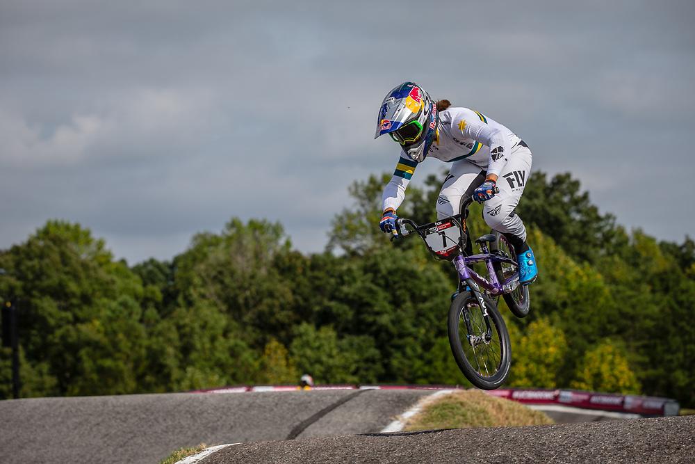 #7 (SAKAKIBARA Saya) AUS [DK, Redbull, Box, FLY] at Round 8 of the 2019 UCI BMX Supercross World Cup in Rock Hill, USA