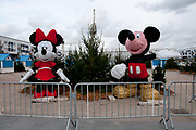 France. Calais. Municipal celebration - Mickey and Minnie Mouse waiting for Christmas.