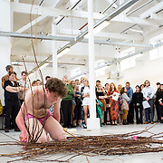 """03.06.2018.        <br /> An In-FLUX of visitors attended LSAD, Limerick School of Art and Design for one of Ireland's largest and most vibrant Graduate Shows.<br /> <br /> Sculpture and Combined media graduate Kate O'Shea performs at the opening of the Flux Exhibition.<br /> <br /> More than 200 Fine Art and Design students' work went on display from June 2 to June 10, 2018 at the LSAD Graduate Show - FLUX.<br /> LSAD has been central to Art, Craft and Design in the Limerick and Midwest region since 1852.<br />  <br /> The concept, branding and overall design of the 2018 LSAD Graduate Show - FLUX – is student led, and begins this Saturday June 2 and runs until June 10, 2018.<br />  <br /> FLUX encapsulates the movement and change from student to graduate. """"The """"X"""" in """"FLUX"""" represents the students and how they have made their mark in their time at college,"""" explains designers Cathy Hogan and Will Harte as they outline the thinking behind the concept.<br />  <br /> FLUX describes the dynamic movement in the Limerick city region as it overcomes significant issues to become a fulcrum of rejuvenation, vibrant culture, strong industry growth and a centre of design.<br />  <br /> LSAD is also in a state of FLUX as it develops its enterprise potential and engagement with stakeholders across industry, public bodies, third level institutions and other partners overseeing a shift towards design, creativity and connectivity that goes far beyond the walls of its main campus on Clare Street. Picture: Alan Place"""