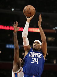 October 19, 2018 - Los Angeles, California, U.S - Tobias Harris #34 of the Los Angeles Clippers takes a shot during their NBA game with the Oklahoma Thunder on Friday October 19, 2018 at the Staples Center in Los Angeles, California. Clippers defeat Thunder, 108-92. (Credit Image: © Prensa Internacional via ZUMA Wire)