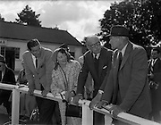 20/09/1960<br /> 09/20/1960<br /> 20 September 1960<br /> Goffs Bloodstock Sales at Ballsbridge, Dublin. Images shows: (l-r) Mr. N. O'Connell, Farm Manager; Mrs Hastings, Major G.L. Hastings and Captain G. Fane, (England) Stony Murdock.