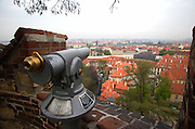View of the Little Quarter and Hradcany from Prague Castle in Prague, Czech Republic. The castle, first constructed in the 10th century is the seat of government in the Czech Republic.