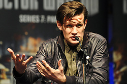© Licensed to London News Pictures. 26/10/2012. London,UK.Matt Smith launches the DVD of Doctor Who Series 7 Part 1,at the MCM London Comic Con. The Doctor is taking part in a panel discussion with the shows exec producer Caroline Skinner. .  Photo credit : Thomas Campean/LNP..