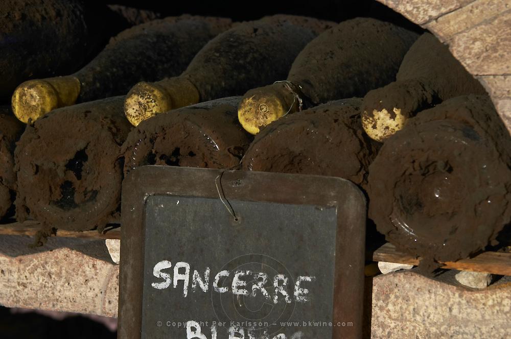 Bottles aging in the cellar. Domaine de la Perriere, Sancerre, Loire, France
