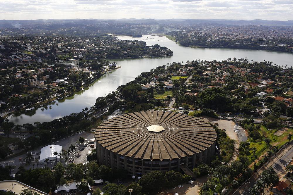Belo Horizonte_MG, Brasil.<br /> <br /> Vista aerea do Mineirinho e da Lagoa da Pampulha em Belo Horizonte, Minas Gerais.<br /> <br /> Mineirinho and in the background Pampulha lake in Belo Horizonte, Minas Gerais.<br /> <br /> Foto: MARCUS DESIMONI / NITRO
