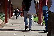 Prisoner walking through the grounds of the prison. HMP The Mount, Bovingdon, Hertfordshire