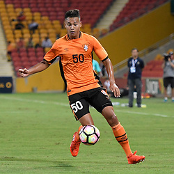 BRISBANE, AUSTRALIA - JANUARY 31: Dane Ingham of the roar in action during the second qualifying round of the Asian Champions League match between the Brisbane Roar and Global FC at Suncorp Stadium on January 31, 2017 in Brisbane, Australia. (Photo by Patrick Kearney/Brisbane Roar)