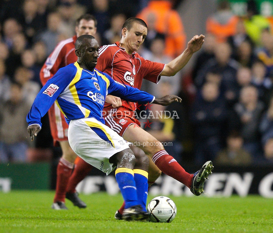 LIVERPOOL, ENGLAND - Wednesday, October 31, 2007: Liverpool's Jack Hobbs and Cardiff City's Jimmy Floyd Hasselbaink during the League Cup 4th Round match at Anfield. (Photo by David Rawcliffe/Propaganda)